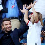 27. Juni 2019  David Beckham und seine Tochter Harper feiern ausgelassen den Sieg von England gegen Norwegen bei der Frauen-Fußball-WM.