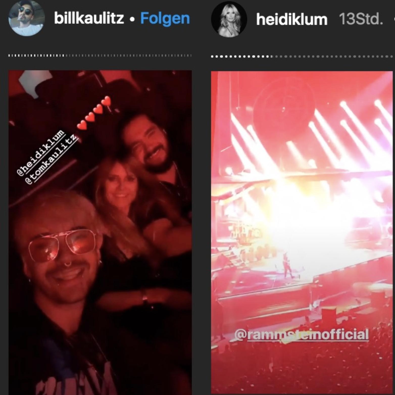 Bill Kaulitz, Heidi Klum und Tom Kaulitz beim Konzert von Rammstein in Paris