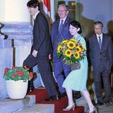27. Juni 2019  JapansKronprinz Fumihito kommt mit seiner Gattin Prinzessin Kiko in Warschau an. Das Paar besucht erst vier Tage Polen, bevor es weiter nach Finnland geht.