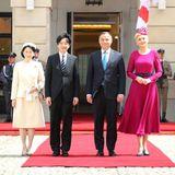 28. Juni 2019  Am Tag nach ihrer Ankunft werden Prinz Fumihito und Prinzessin Kiko vom polnischen Präsidenten Andrzej Duda und dessen Ehefrau Agata Kornhauser-Duda am Warschauer Präsidentenpalastempfangen.