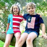 Und an diesen patriotischen Dresscode halten sich auch ihre süßen Zwillinge Harper und Gideon.