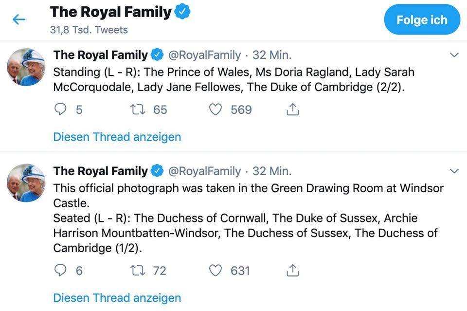 Der Tweet des Palastes zu Archies Tauffotos
