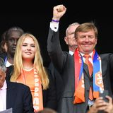 7. Juli 2019  Bis zum ersten Tor von Megan Rapinoe im Elfmeterschießen ist die niederländische Königsfamilie auch noch guter Dinge und bejubelt die Spielerinnen.