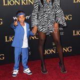 Auch Kelly kommt ganz wie Beyoncé in Begleitung ihres Kindes auf den Red Carpet. Ihr Sohnemann Titan ist mit seinen vier Jahren ein ganz schön stylischer Hip-Hopper.