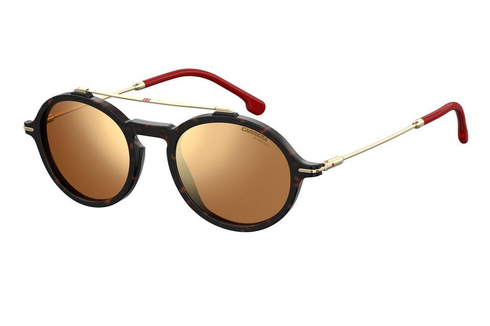 Sonnenbrille CARRERA 195/S von Safilo im dunklen Havana mit verspiegelten Gläsern in Gold/Bronze, matten Schwarz mit mehrschichtigen Carrera-Farben