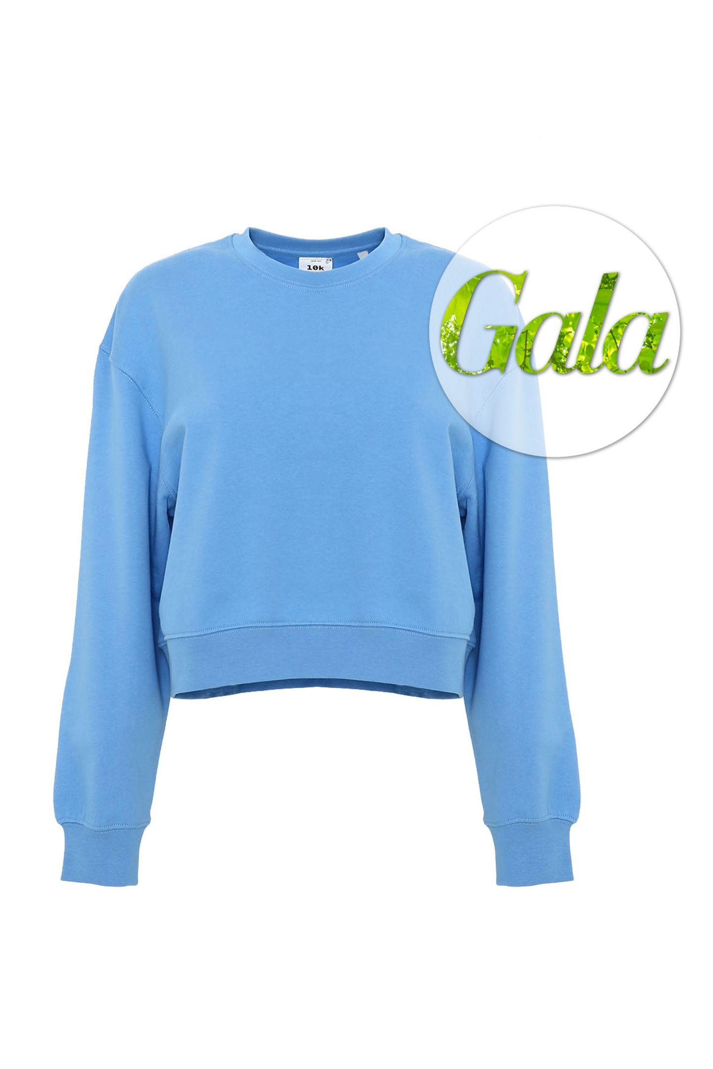 """Dieser Pullover ist grün. Sie machen sich jetzt Sorgen um ihre Augen? Müssen Sie nicht. Denn Sie haben ganz Recht: Der Sweater ist eigentlich hellblau. Aber es ist zu 100% aus Bio-Bauwolle gefertigt und stammt von dem Label """"10k"""", das sich um unseren grünen Planeten sorgt. Nachhaltige, nachwachsende Ressourcen liegen dem Kollektiv aus Designern und Künstlern am Herzen. We love! (Von 10K, ca. 35 Euro.)"""