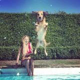 Auf Instagram teilt James Middleton den perfekten Schnappschuss von seinem Hund. Der Golden Retriever springt mit einem Satz in den Pool, während James FreundinAlizee im Hintergrund amüsiert zusieht.