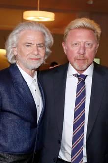 16. Juli 2019  Prof. Dr. Hermann Bühlbecker (Lambertz Gruppe), einer der Gastgeber der CHIO Media Night in Aachen, begrüßt Boris Becker und Michael Mronz als seinepersönlichen Gäste auf der Veranstaltung.