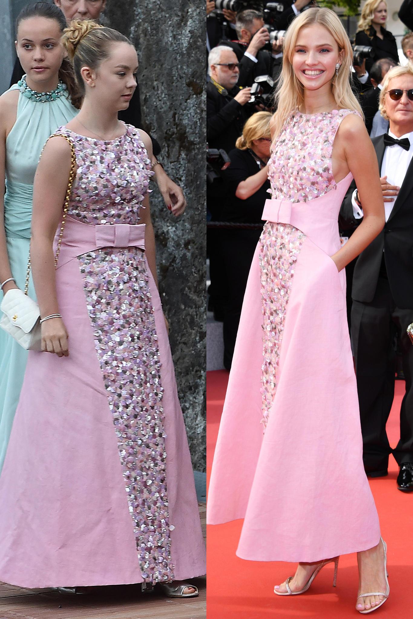 Zur Hochzeit von Pierre Casiraghi und Beatrice Borromeo im August 2015trägt Prinzessin Alexandra ein Kleid von Chanel und setzt damit Trends: Sasha Luss spaziert darin in 2019 über den roten Teppich in Cannes.