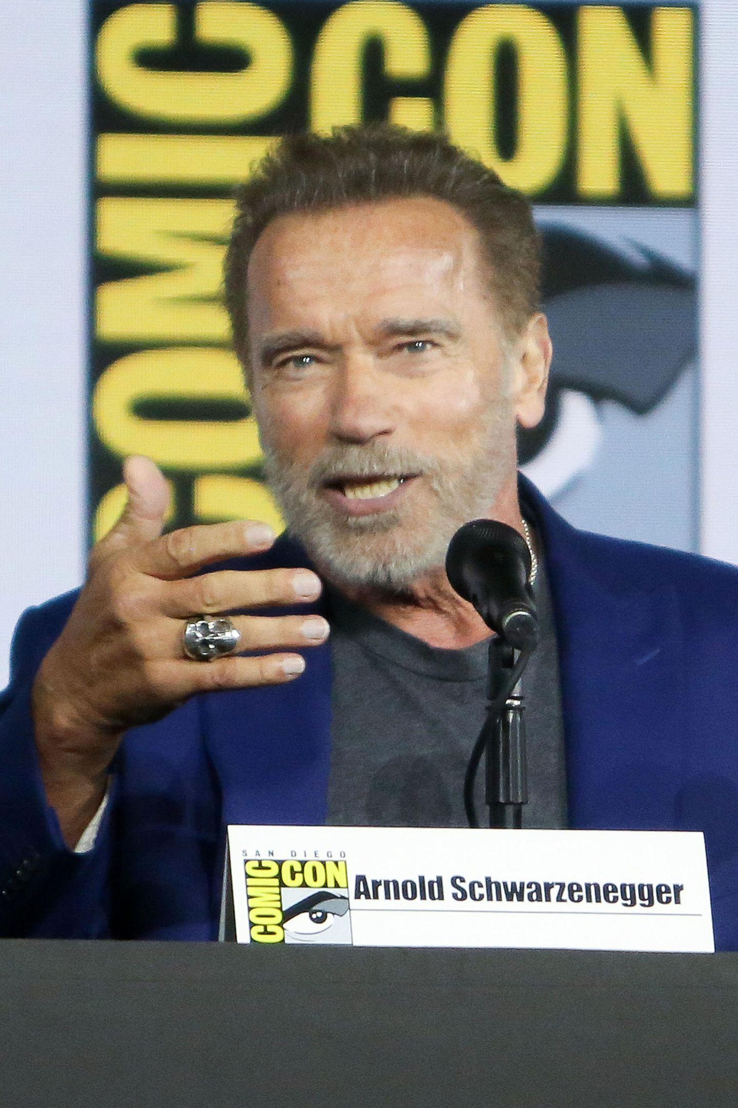 """Er ist zurück! Arnold Schwarzenegger macht in San Diego Werbung für denneuen """"Terminator: Dark Fate""""-Film."""