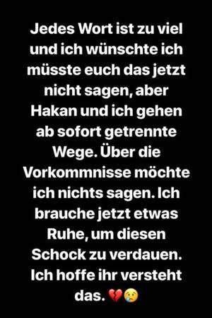 In ihrer Instagram-Story gibt Jenny Frankhauser die Trennung von Hakan bekannt.
