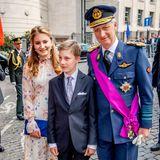 Royales Familientrio: Prinzessin Elisabeth, Prinz Emmanuel und König Philippe