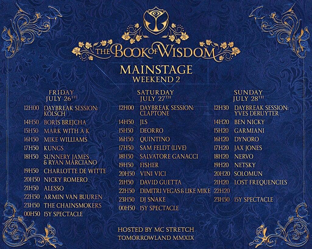 Timetable der Auftritte beim Tomorrowland 2019 - zweites Wochenende