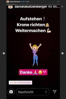 Jenny Frankhauser bedankt sich bei ihrer Schwester Daniela Katzenberger