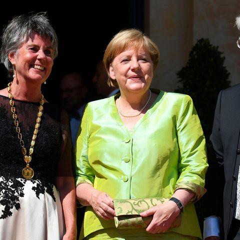 Brigitte Merk-Erbe, Bürgermeisterin von Bayreuth, Angela Merkel +Thomas Erbe