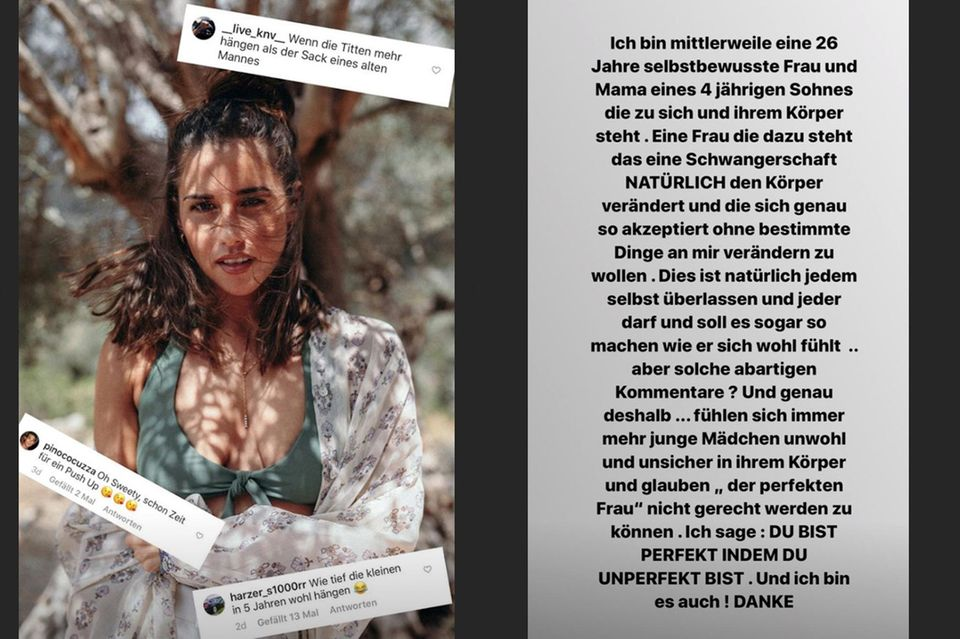 In ihrer Instagram-Story nimmt Sarah Lombardi am 30. Juli Bezug auf die unangebrachten Kommentare, die sich unter ihrem Bikini-Foto tummeln.