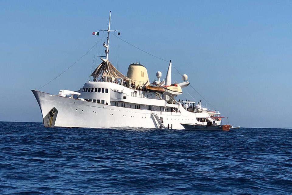 "Die Jacht ""Christina O"" am 3. August 2019 vor Capri."