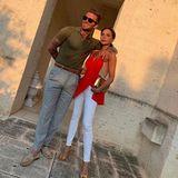 7. August 2019  Casual Chic mit Sonnenuntergang: Im Abendlichtsehen David und Victoria besonders tiefenentspannt aus.
