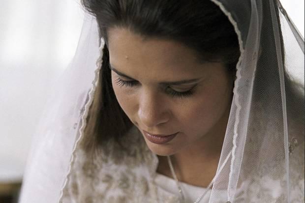 Prinzessin Haya bint-Al Hussein am Tag ihrer Hochzeit.