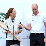 8. August 2019  Richtig viel Spaß haben Herzogin Catherine und Prinz William bei der Preisverleihung der King's Cup Regatta auf der Isle of Wight.