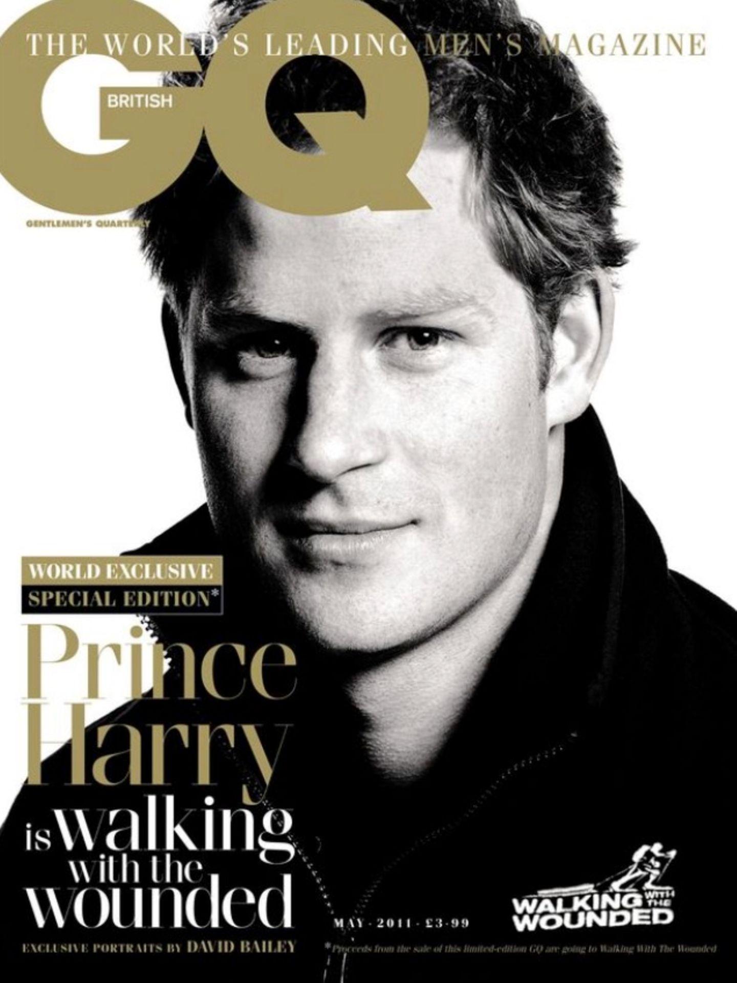 """2011: Für das Cover des Männermagazins """"GQ"""" zeigt sich Prinz Harry glattrasiert und mit hochgestelltem Kragen."""