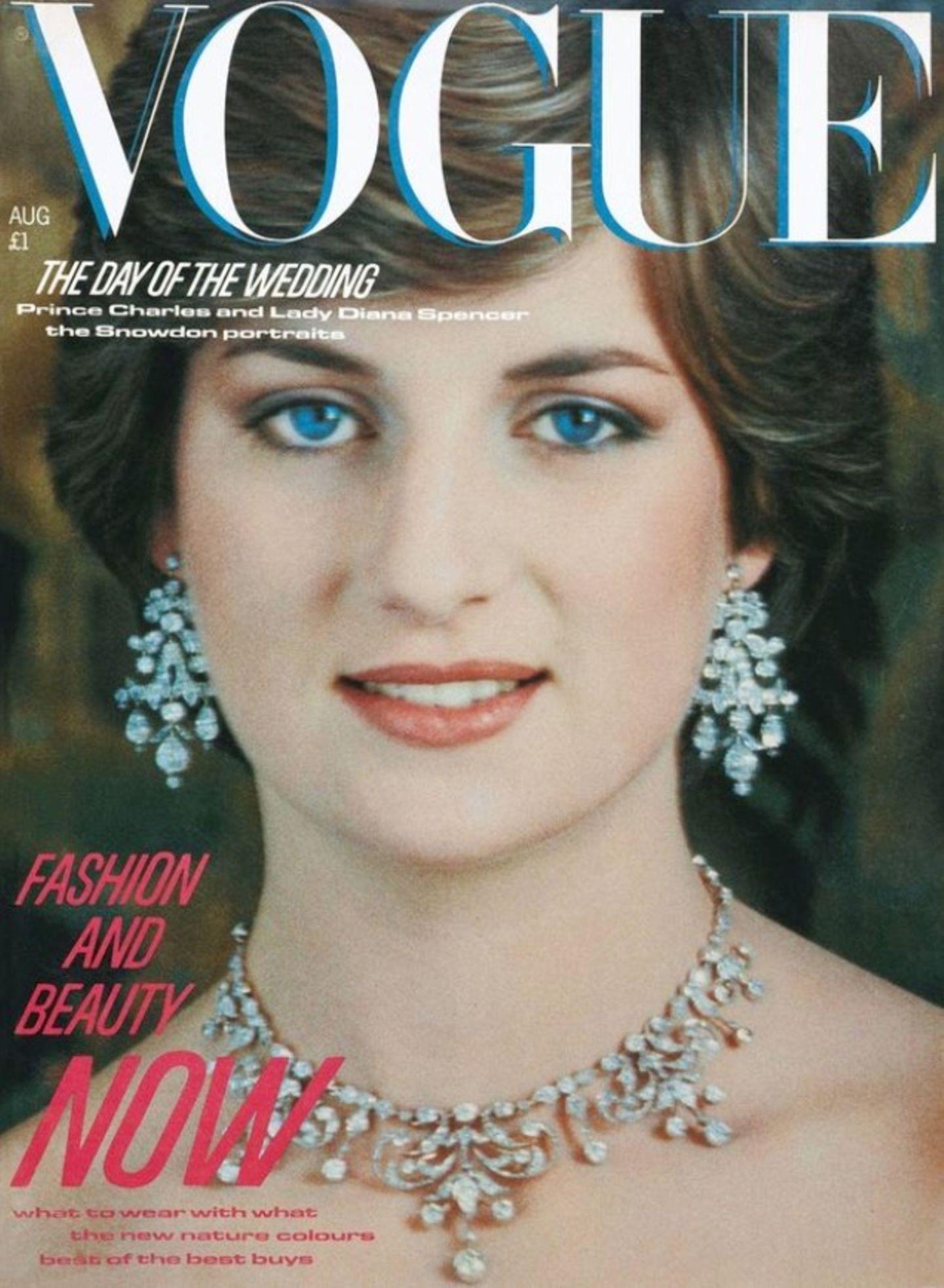 1981: Lady Dianas erstes Vogue-Cover erschien im August 1981, einen Monat nach der Hochzeit mit Prinz Charles.