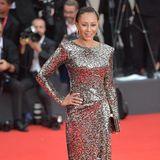 Melanie Brown, dasehemalige Mitglied der Pop-Gruppe Spice Girls, entscheidet sich für ein Metallic-Dress im Leo-Print.