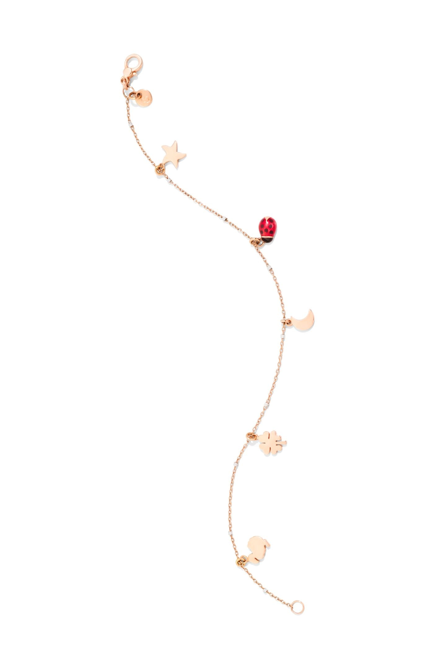 Dodo feiert 25-jähriges Jubiläum und beschenkt seine Fans mit zwei Neuinterpretationen der Ikonen Seestern, Kleeblatt, Marienkäfer, Mond und Dodo. Uns hat es vor allem das Armband aus Rosé- und Weißgold angetan. Ca. 450 Euro.