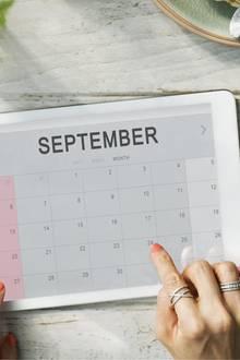 Tablet mit Septermberkalender