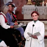 Prinzessin Ingrid Alexandra liest das Gebet des heiligen Franziskus.