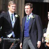 """Ihr Mann Jack Brooksbank (rechts im Bild) stand dem Bräutigam als """"Groomsman"""", das männliche Pendant zur Brautjungfer, zur Seite."""