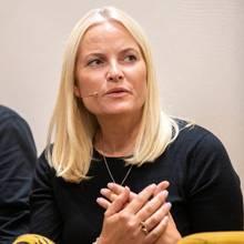 """Prinzessin Mette-Marit am 2. September bei der Präsentation des Buches """"Hjemlandet og andre fortellinger""""."""