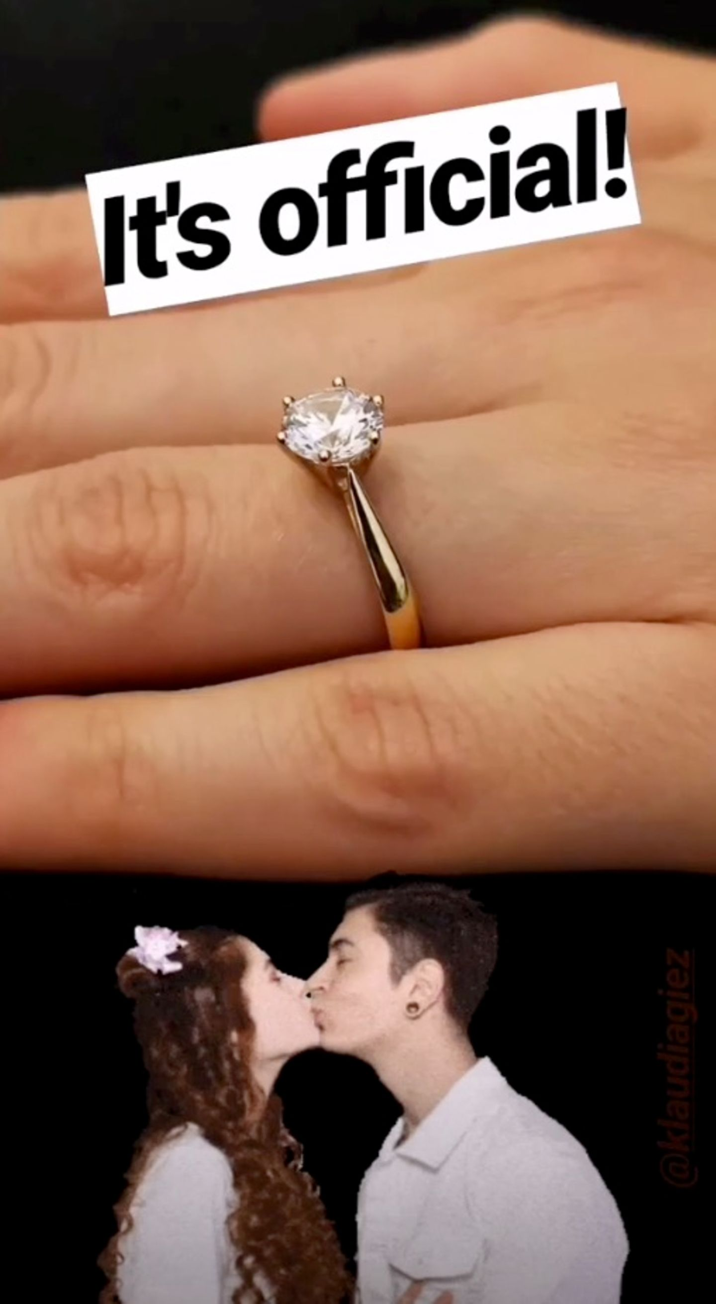 In Gold gefasst, funkelt dieser opulente Diamant ab sofortan Klaudias Ringfinger.
