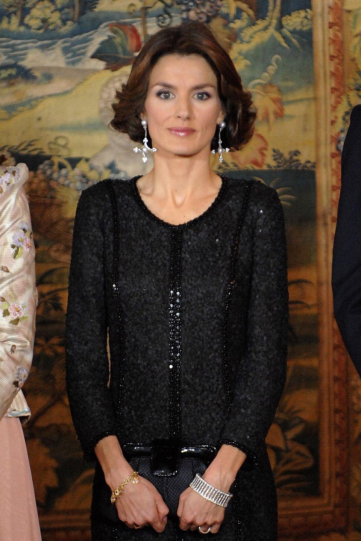 Januar 2008  So kurz wie zum Gala Dinner von KönigJuan Carlos 70. Geburtstag, trug die damalige Prinzessin noch nie ihre Haare.