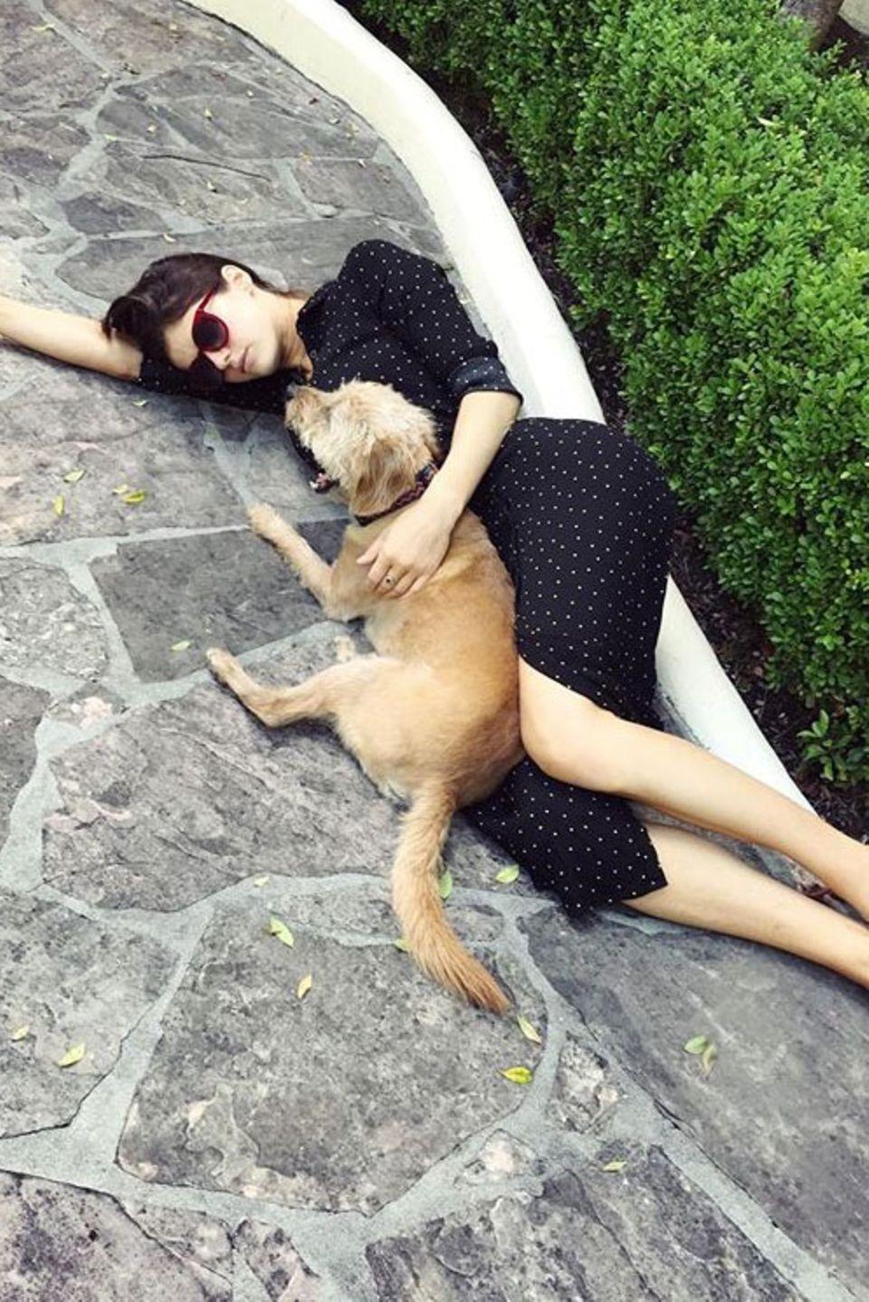 Schauspielerin Alexandra Daddario und ihr Vierbeiner nehmen sich eine kleine Auszeit.