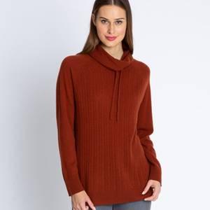 Cashmere-Pullover mitZopfstrickmuster in rost.In mehreren Farben im HSE24-Onlineshop erhältlich. Preis 189,00Euro.