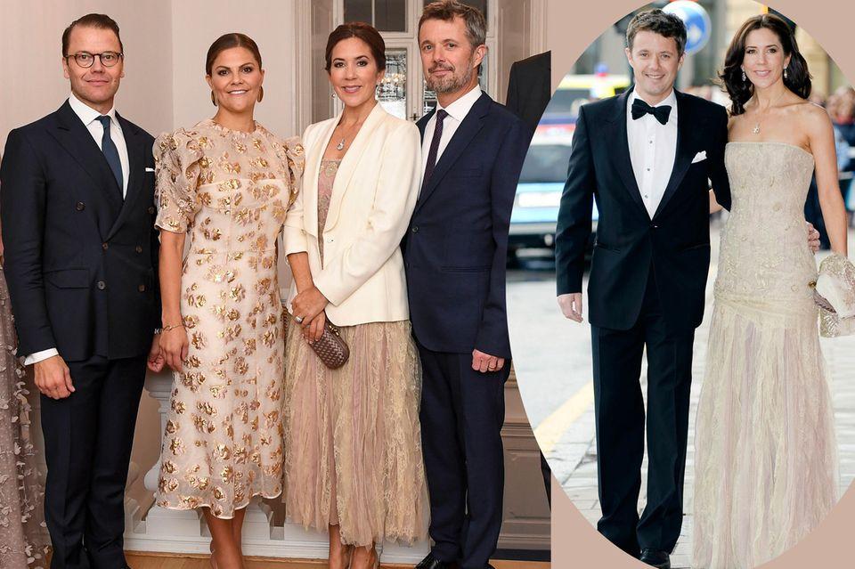 Was für eine schöne Geste: Beim Treffen mit Victoria und Daniel trug Mary noch einmal das beige Kleid, das sie schon 2010zu deren Hochzeit trug. Für das Treffen 2009 ließ sie es allerdings auf Knöchellänge kürzen.