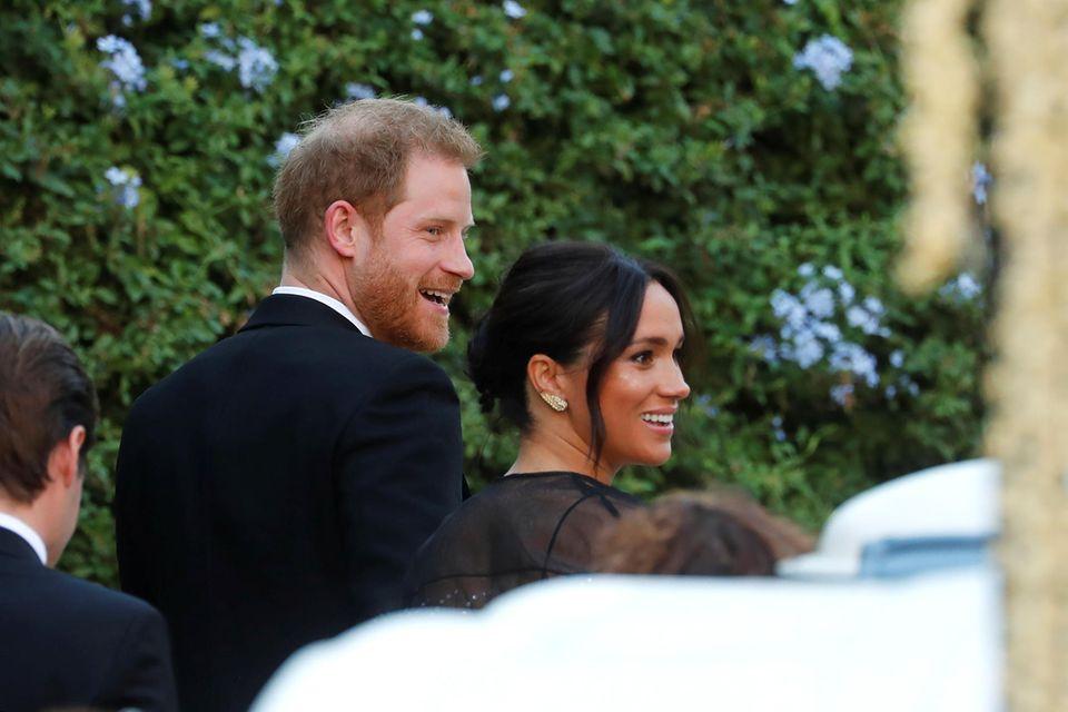 Prinz Harry und Herzogin Meghan auf der Hochzeit von Misha Nonoo.