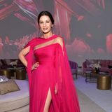 Pretty in Pink: Catherine Zeta-Jones gibt sich bei der Netflix-Emmy-Party farblich auffällig.