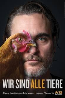 """""""The Joker""""-Star Joaquin Phoenix richtet mit diesemPorträt aus der """"Wir sind alle Tiere""""-Reihe ein Appell für vegane Ernährung und ein Ende des Speziesismus, (der falsche Glaube, andere Tierarten seien dem Menschenunterlegen)an alle Menschen. Das neue Motiv von Peta USA war erstmals prominent am New Yorker Times Square zu sehen."""