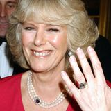 Herzogin Camilla zeigt ihr schönstes Lächeln, als sie der Weltpresse im Februar 2005 überglücklich ihren Verlobungsring präsentiert – angesteckt hat ihr dieser Prinz Charles.Der Ring soll einerder absoluten Lieblingsschmuckstücke von Queen Mum, der Großmutter von Prinz Charles, gewesen sein und soll einen Wert von rund 720.000 Euro haben.
