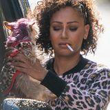 Mit Fluppe im Mund und Hund auf dem Arm sieht man Mel B in London.
