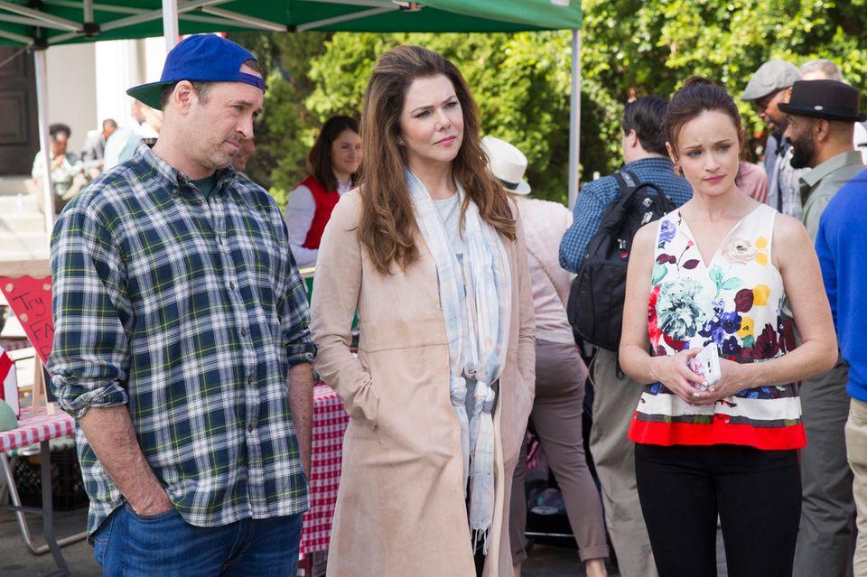 Luke Danes (Scott Patterson), Lorelai Gilmore (Lauren Graham) und Rory Gilmore (Alexis Bledel)