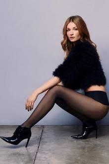 Strumpfhose, Strumpfhose mit hohem Bund, schwarze Strumpfhose, junge Frau
