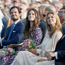Königin Silvia, Prinz Carl Philip, Prinzessin Sofia, Prinzessin Madeleine und Christopher O'Neill