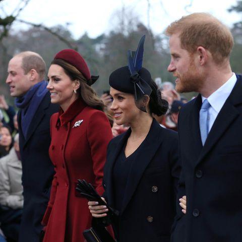 v.l.: Prinz William, Herzogin Catherine, Herzogin Meghan und Prinz Harry