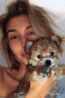 """Wer so prominente Hunde-Eltern hat, wird natürlich selbst zum Star. Wie alle Haustiere von Justin und Hailey Bieber hat auch """"Oskie the Poskie"""" einen eigenen Instagram-Account mit fast einer Millionen Followern."""