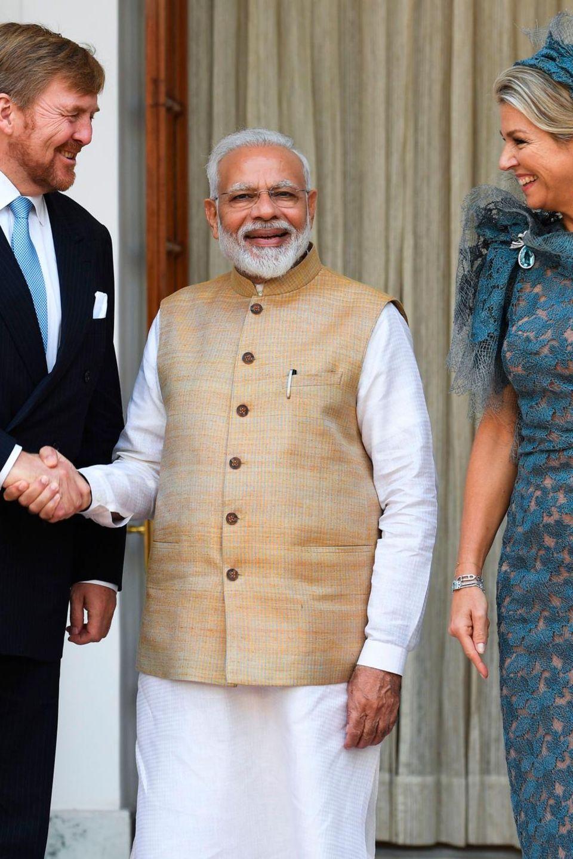 König Willem-Alexander und Königin Máxima mit Premierminister Narendra Modi