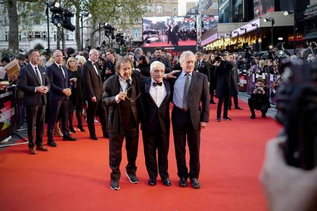 """13. Oktober 2019  Drei Filmlegenden auf dem roten Teppich: Al Pacino, Regisseur Martin Scorsese und Robert De Niro zeigen sich gemeinsam bei der Premiere von """"The Irishman"""" und gleichzeitig der Abschlussgala des diesjährigen BFILondonFilmfestivals."""