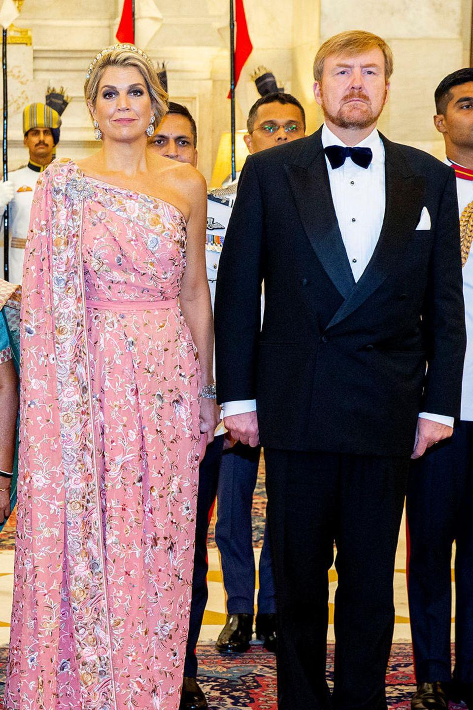 König Willem-Alexander und Königin Máxima der Niederlande währen dem offiziellen Staatsbankett, dass der indische Präseident Ram Nath Kovind am 14. Oktober im Präsidentenpalast ausrichtete.